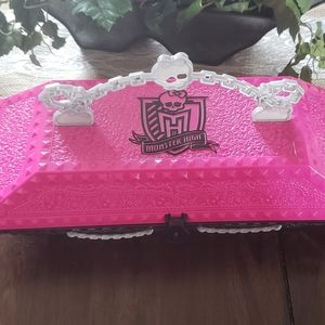 Pink and black monster high coffin